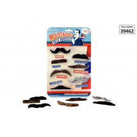 Self adhesive mustaches on card
