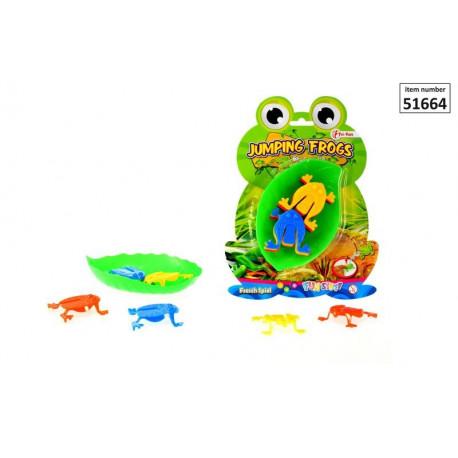 Skaczące żabki na listku