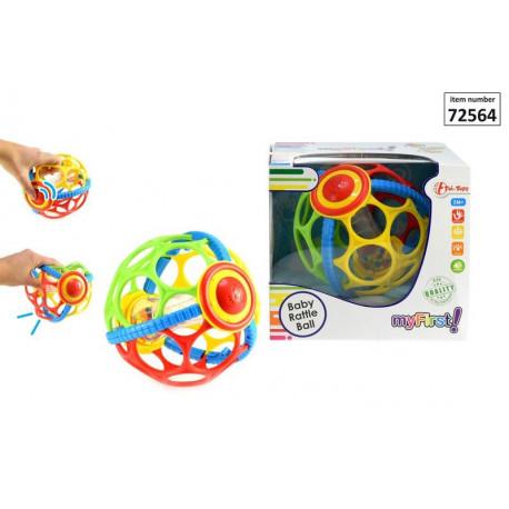Piłka z dziurami i grzechotką dla niemowląt