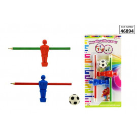 Table soccerset eraser with pencil on blistercard