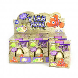 DIG IT OUT FOSSIL EGG FISH GID 3pcs 8cm