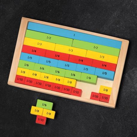 Drewniane ułamki - nauka od 1do 1/10 - czas szkoły