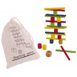 Drewniana Gra - Zbuduj kolorową wieżę