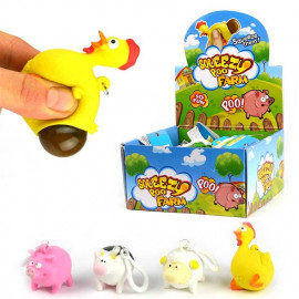 KEYRING FARM ANIMAL SQUEEZE POO 4ass 5cm