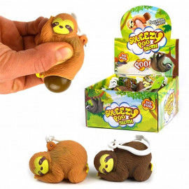 KEYRING SLOTH SQUEEZE POO 2ass 5cm