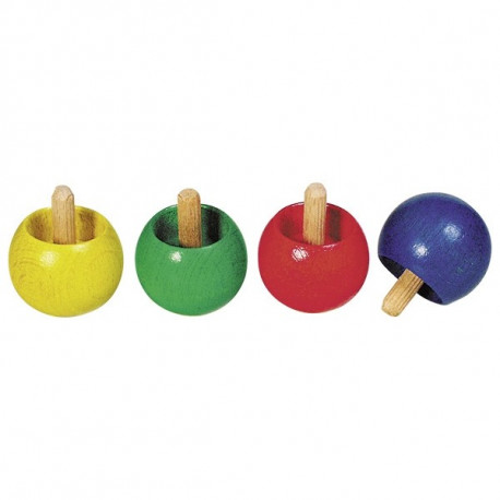 Małe drewniane bączki (różne kolory
