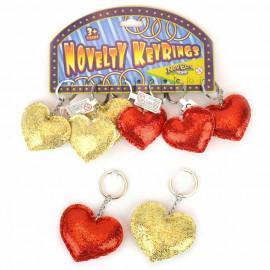 KEYCHAIN GLITTER HEART 2ass 6x7cm