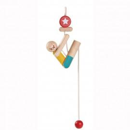 Drewniany Akrobatyk wspinający się na sznurku