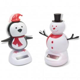 CHRISTMAS SOLAR SNOWMAN AND PENGUIN