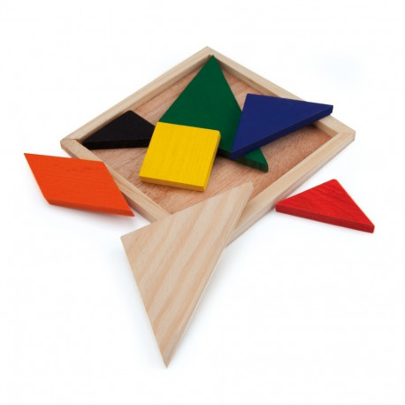 """Puzzle drewniane """"Tangram"""" Kolorowy Mały"""