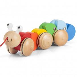 WOODEN PULL ALONG CATERPILLAR